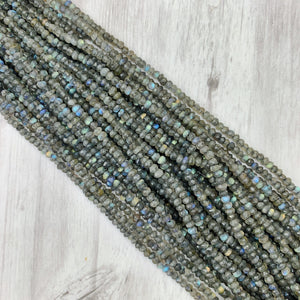 Labradorite Gemstone Rondelle - 2mm x 4mm - The Bead N Crystal & Enclave Gems