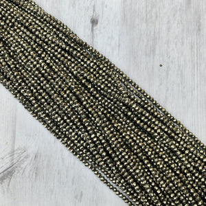 Pyrite Gemstone Rondelle - 3mm - The Bead N Crystal & Enclave Gems