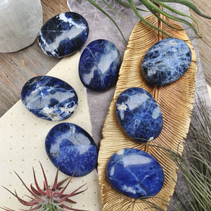 Sodalite Palm Stones (224) - The Bead N Crystal & Enclave Gems
