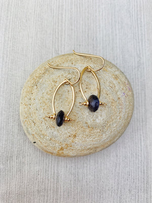 Vio Earrings - 14k Gold FIlled Iolite Disks - The Bead N Crystal & Enclave Gems