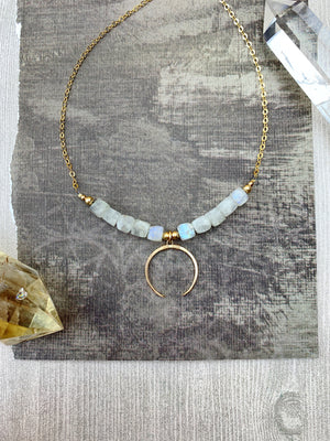 Mollie Necklace - Rainbow Moonstone Faceted Cubes Crescent Pendant - The Bead N Crystal & Enclave Gems