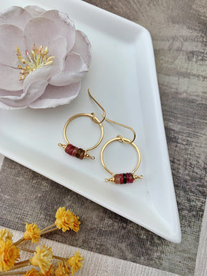 Fina Earrings - 14k Gold Filled Tourmaline Slices Hoops - The Bead N Crystal & Enclave Gems