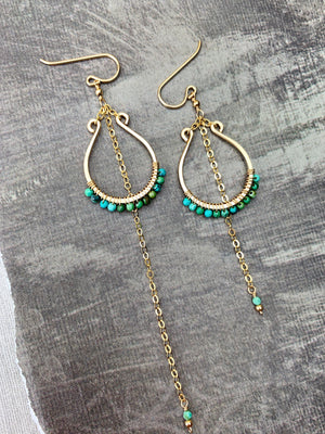Pasha Earrings - Micro-Turquoise Faceted Large U Frames Uneven Chain - The Bead N Crystal & Enclave Gems