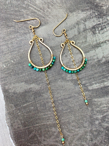 Pasha Earrings - Micro-Turquoise Faceted Large U Frames Uneven Chain