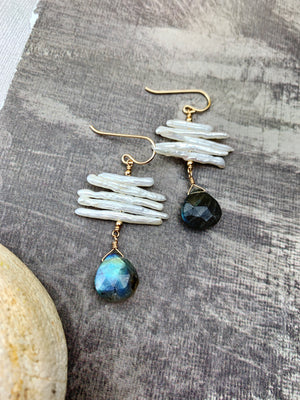 Mia Earrings - 14k Gold Filled Labradorite Briolette Drops - The Bead N Crystal & Enclave Gems