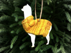 Holiday Decorations Ornaments Alpacas in Handknit Sweaters