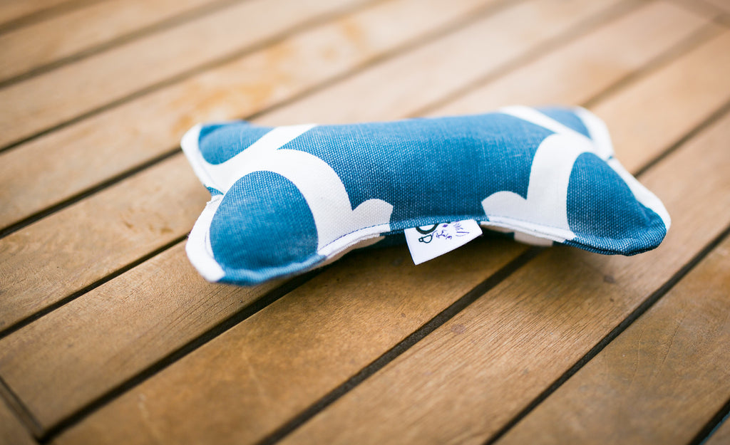 Bonz Plush Dog Bone Toy With Squeaker in Navy Blue Eden Twill