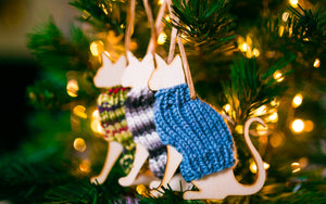 Holiday Decorations Ornaments Cats in Handknit Sweaters