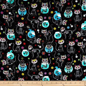 Paca Pet Pouf Pet Bed/Crate Mat Flannel Cat Skeletons & Fishbowls Cover MADE TO ORDER