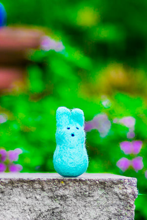Felted Wool Bunny Cat Toy in Swan - With or Without Catnip