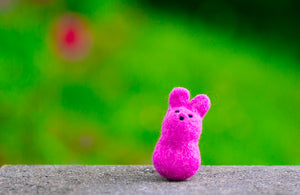Felted Wool Bunny Cat Toy in Foxglove - With or Without Catnip