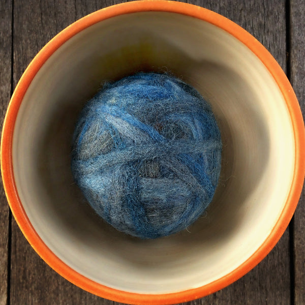 Fetch2.5!  Alpaca and Wool Fiber Dog Ball in Steel City Blue
