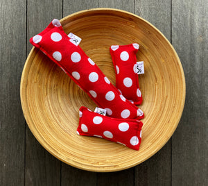 Flannel Kitty Nip Kicker Catnip Toy Red Polka Dots - 2 Sizes!