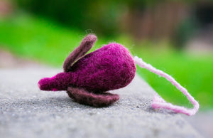 Fuzz! Felted Catnip Mouse Cat Toy in Cabernet