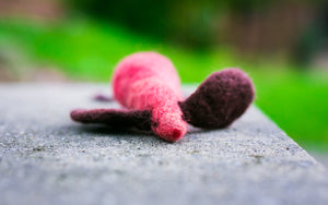 Fuzz! Felted Catnip Mouse Cat Toy in Chocolate Cherries