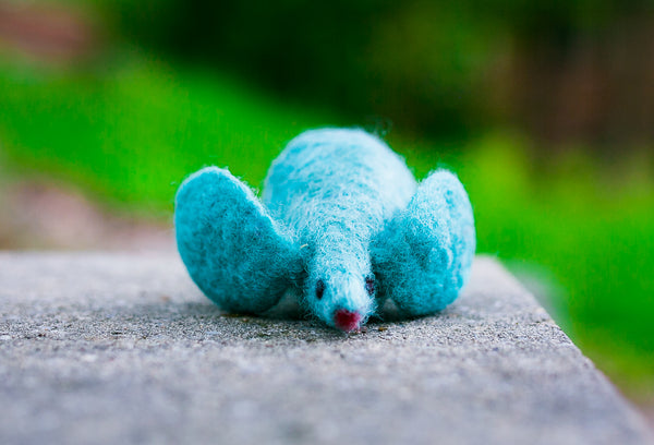 Fuzz! Felted Catnip Mouse Cat Toy in Cool Aqua
