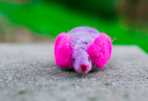 Fuzz! Felted Catnip Mouse Cat Toy in Ultraviolet