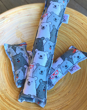 Flannel Kitty Nip Kicker Catnip Toy in Cubby Bear Happy Bears - 2 Sizes!