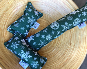Flannel Kitty Nip Kicker Catnip Toy in Green Christmas Snowflakes - 2 Sizes!