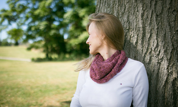 Horseshoe Lace Cowl in Merino, Alpaca & Silk, Colorwary Hollyhock