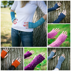Honeycomb Gauntlet Fingerless Gloves in Your Choice of Color