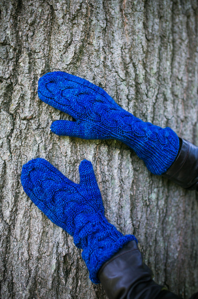 Horseshoe Cable Gauntlet Mittens in Sapphire