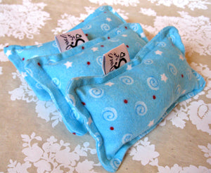 Flannel Mini Kitty Nip Kicker Catnip Toy in Blue Stars Holiday Theme LAST ONES!