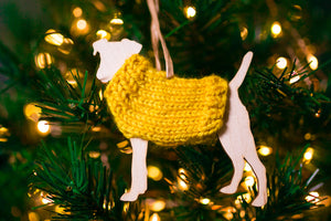 Holiday Decorations Ornaments Dogs in Handknit Sweaters