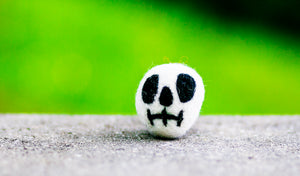 Karma Cat Felted Wool Halloween Cat Toy Skull