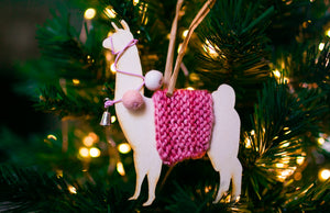 Holiday Decorations Ornaments Llamas in Traditional Dress