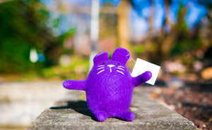Lollycadoodle Felted Dog Toy Purple Cat