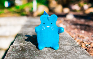 Lollycadoodle Felted Dog Toy Turquoise Blue Cat