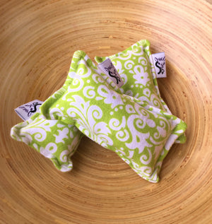 Flannel Mini Kitty Nip Kicker Catnip Toy in Lime Damask