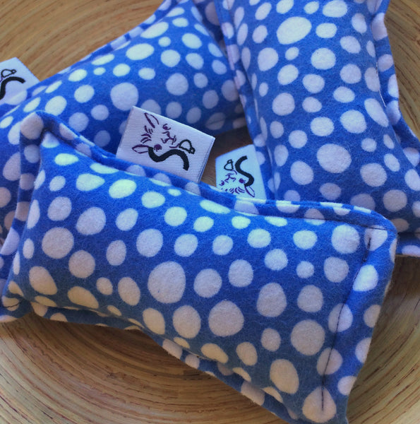 Flannel Mini Kitty Nip Kicker Catnip Cat Toy in Perwinkle Dr. Seuss Dots