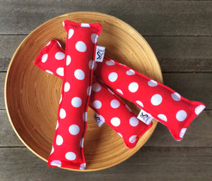 Flannel Kitty Nip Kicker Catnip Toy in Red Polka Dots