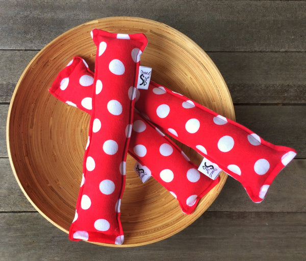 Flannel Kitty Nip Kicker Catnip Cat Toy in Red Polka Dots