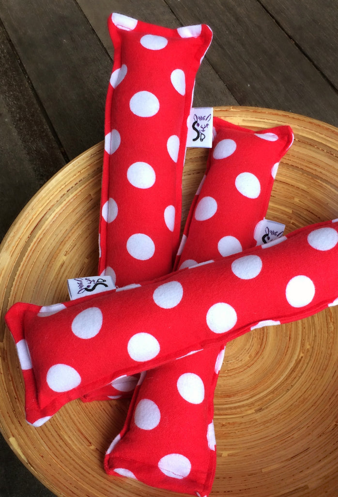 Kitty Nip Kicker Catnip Toy in Red Polka Dots Flannel