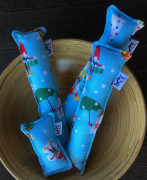 Flannel Kitty Nip Kicker Catnip Toy in Aqua Gnome for the Holidays