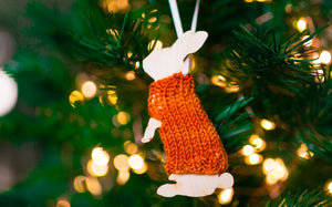 Holiday Decorations Ornaments Rabbits in Handknit Sweaters