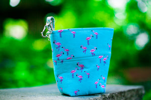 Fun Premium Treat and Pickup Bags Carry Pouch Food Safe Waterproof Lining Choice of Clasps Aqua Mini Flamingos LAST ONES