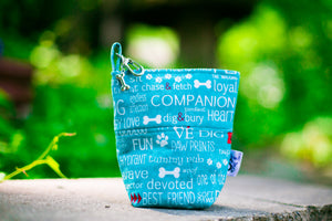 Fun Upgraded Treat and Pickup Bags Carry Pouch Dog Wisdom Aqua Blue Food Safe Waterproof Lining DHead Bolt