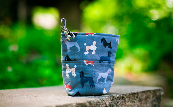 Pooch Pouch Accessory Dog Leash Bag Pewter Show Dogs Tea Party