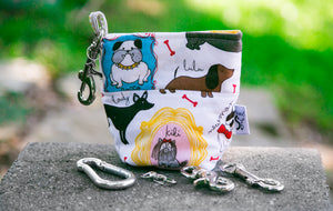 Fun Premium Treat and Pickup Bags Carry Pouch Food Safe Waterproof Lining Choice of Clasps Playful Pugs