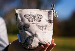 Dog Leash Bag Eclectic Elements Butterflight Butterfly Taupe With Upgraded Lining and Clasp
