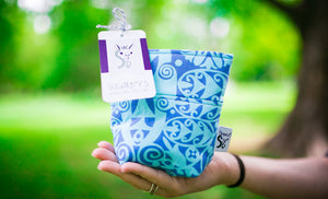 Fun Premium Treat and Pickup Bags Carry Pouch Food Safe Waterproof Lining Choice of Clasps Blue Ocean Blooms