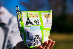 Fun Premium Treat and Pickup Bags Carry Pouch Food Safe Waterproof Lining Choice of Clasps Pepe in Paris Eiffel Tower