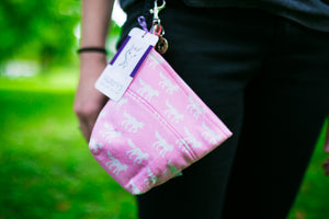 Fun Premium Treat and Pickup Bags Carry Pouch Food Safe Waterproof Lining Choice of Clasps Pink Foxes