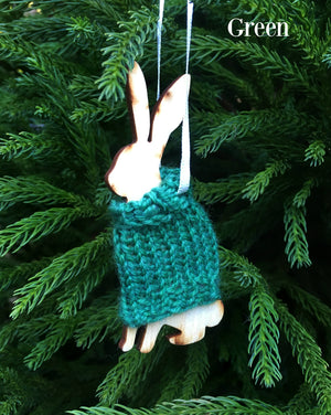 Holiday Decorations Rabbits in Handknit Sweaters