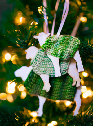 Holiday Decorations Family of Sheep in Handknit Sweaters