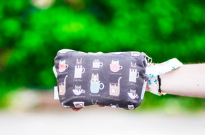 Cosmetic Bag Dog Leash Bag Wristlet Purse with Foodsafe Waterproof Lining Tiny Coffee Cats in Espresso